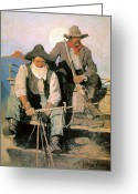 Cowboy Hat Photo Greeting Cards - N.c. Wyeth: The Pay Stage Greeting Card by Granger