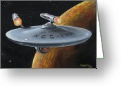 Trek Greeting Cards - Ncc-1701 Greeting Card by Kim Lockman