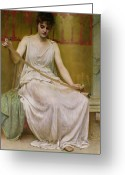 Drapery Greeting Cards - Neaera Reading a Letter from Catullus Greeting Card by Henry John Hudson
