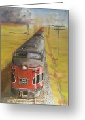 Locomotives Greeting Cards - Near Thistle  KS Greeting Card by Christopher Jenkins
