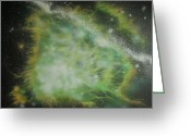 Outerspace Greeting Cards - Nebula Green Greeting Card by DC Decker