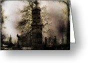Cemetery Gate Greeting Cards - Necropolis Gate and Crow Greeting Card by Gothicolors With Crows
