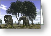 Cretaceous Greeting Cards - Nedoceratops Graze Beneath A Giant Oak Greeting Card by Walter Myers