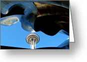 Iconic Architecture Greeting Cards - Needle Juxtaposed Greeting Card by Randall Weidner