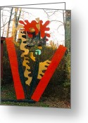 Lines Sculpture Greeting Cards - Nefesh Greeting Card by Al Goldfarb
