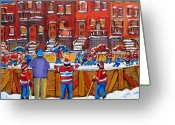 Hockeygame At The Neighborhood Rink Greeting Cards - Neighborhood  Hockey Rink Greeting Card by Carole Spandau