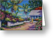 Bay Islands Painting Greeting Cards - Neighbours Greeting Card by John Clark