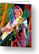 Performing Greeting Cards - Neil Diamond Hot August Night Greeting Card by David Lloyd Glover