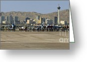 Us Air Force Greeting Cards - Nellis and Las Vegas Skyline Greeting Card by Tim Mulina