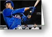 Rangers Greeting Cards - Nelson Cruz Greeting Card by Tom Carlton