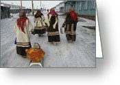 Five People Greeting Cards - Nenets Women In Their Finest Coats Greeting Card by Maria Stenzel