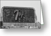Merced County Greeting Cards - Neon 7up Sign Merced CA Greeting Card by Troy Montemayor