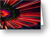 Neon Art Greeting Cards - Neon Blast Greeting Card by Fred Lassmann