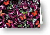 Colorful Photography Painting Greeting Cards - Neon Butterflies Greeting Card by JQ Licensing