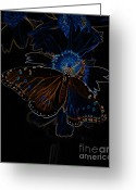 Cocoon Greeting Cards - Neon Butterfly Greeting Card by Charles Dobbs