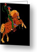 Las Vegas Greeting Cards - Neon Cowboy Las Vegas Greeting Card by Garry Gay