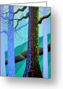 Forest Greeting Cards - Neon Forest Greeting Card by Larissa Holt