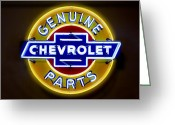 Chevrolet Greeting Cards - Neon Genuine Chevrolet Parts Sign Greeting Card by Mike McGlothlen