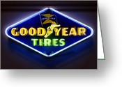Tire Greeting Cards - Neon Goodyear Tires Sign Greeting Card by Mike McGlothlen