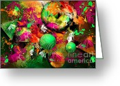 Neon Art Greeting Cards - Neon Ink - Abstract Art Greeting Card by Renee Dawson