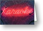 Karaoke Greeting Cards - Neon Karaoke Sign Greeting Card by Jonathan Kitchen