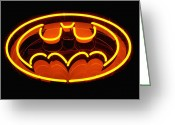 Expressive Photo Greeting Cards - Neon Knight - Hero Rising Greeting Card by Steven Milner