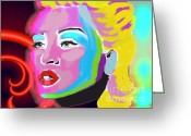 Diana Riukas Greeting Cards - Neon Madonna 2 Greeting Card by Diana Riukas
