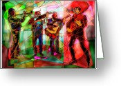 Ethnic Digital Art Greeting Cards - Neon Mariachi Greeting Card by Dean Gleisberg