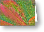 Cindy Longhini Greeting Cards - Neon Palm Abstract Greeting Card by Cindy Lee Longhini