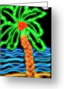 Beach Decor Digital Art Greeting Cards - Neon Palm Beach Greeting Card by Cara Surdi