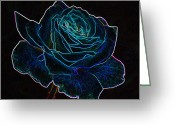 Neon Art Greeting Cards - Neon Rose 3 Greeting Card by Ernie Echols