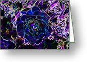 Staley Art Greeting Cards - Neon Rose Greeting Card by Chuck Staley