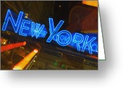 New York City Police Greeting Cards - Neon Sign On A Police Station, New York City, New York State, Usa Greeting Card by Glowimages