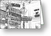 Travelpixpro Greeting Cards - Neon Sign on Bourbon Street Corner French Quarter New Orleans Black and White Photocopy Digital Art Greeting Card by Shawn OBrien