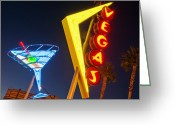 Fremont Street Greeting Cards - Neon Signs In Fremont Street, Downtown Las Vegas Greeting Card by Siegfried Layda