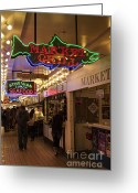 Pike Seafood Market Greeting Cards - Neon Signs Greeting Card by Timothy Johnson