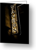 Establishment Greeting Cards - Neon Tavern Sign Greeting Card by John Stephens