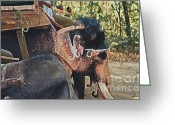 Elephant Ride Greeting Cards - Nepal Elephant Walk Greeting Card by First Star Art