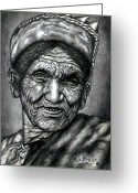 Hair Ornaments Greeting Cards - Nepali Old Woman In Pencil Work Greeting Card by Johnson Moya