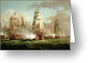 Galleon Greeting Cards - Neptune engaging Trafalgar Greeting Card by J Francis Sartorius