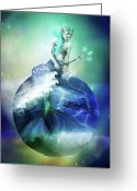 Sky Mixed Media Greeting Cards - Neptune Greeting Card by Karen Koski