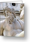 Greek Sculpture Digital Art Greeting Cards - Neptune Greeting Card by Mindy Newman