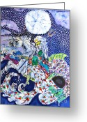 Ocean Tapestries - Textiles Greeting Cards - Neptune Rides the Sea Greeting Card by Carol Law Conklin