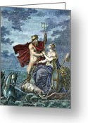 Resignation Greeting Cards - Neptune, Roman God Of Sea Greeting Card by Granger