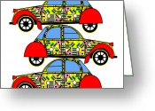 Asbjorn Lonvig Greeting Cards - Nerds Car - Virtual Car Greeting Card by Asbjorn Lonvig