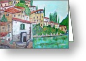 Teresa Dominici Greeting Cards - Nesso at Lake of Como Greeting Card by Teresa Dominici