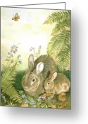 Ferns Greeting Cards - Nesting Bunnies Greeting Card by Patricia Pushaw