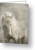 White White Horse Digital Art Greeting Cards - Nesting Time Greeting Card by Dorota Kudyba