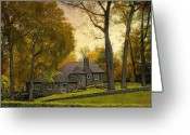 Stone Chimney Greeting Cards - Nestled Greeting Card by Jessica Jenney