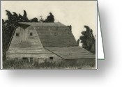 Old Barns Greeting Cards - Nestled Memories Greeting Card by Bryan Baumeister